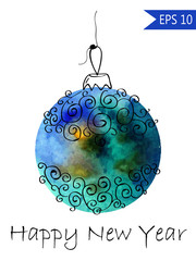 Watercolor christmas bauble with hand-drawn elements Colorful on white background in vector New Year ball