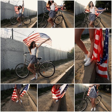 Young girl holding americam stars and stripes in her hands outdoor collage