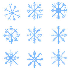 Vector Set of Blue Sketch Snowflakes