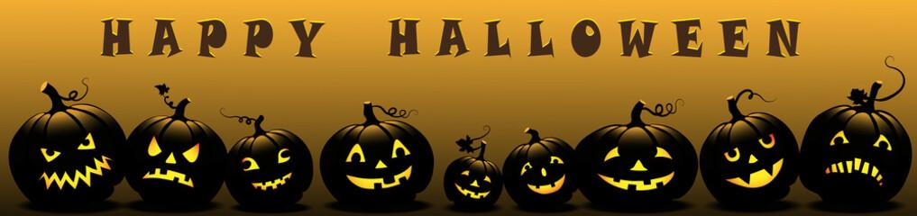 Halloween banner with pumpkins,  Vector illustration