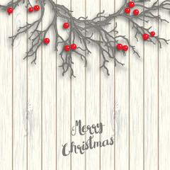 Christmas wreath on white wooden background, illustration