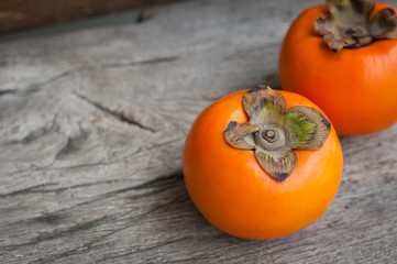 Homemade persimmon cake with fresh persimmons