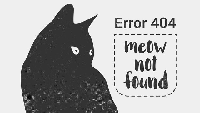 Error 404 page not found. Cat is looking at a message Error 404 not found. Vector template for website.