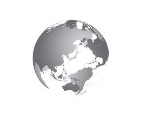 地球の立体イラスト(グレー)