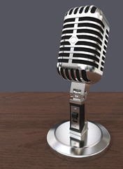Mic on abstract background. 3D render of Classic style retro Microphone. Wooden table and blue background. Non branded.