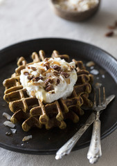Spicy Pumpkin Waffles with Coconut Whipped Cream