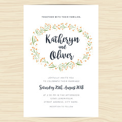 Wedding invitation card with hand drawn wreath flower template. Vector illustration.