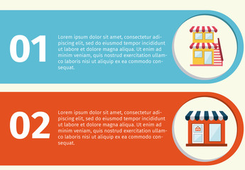 E-Commerce Infographic with 3 Bold Tabs and Cartoon Store Icons