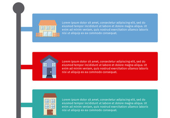 Real Estate Data Infographic with Street Sign Element and Building Icons