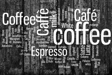 Coffee. All types of coffee, coffee drink. Conceptual word cloud