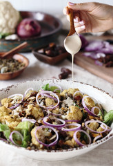 Roasted Cauliflower Salad with Lentils, Dates, Onions, and Tahin