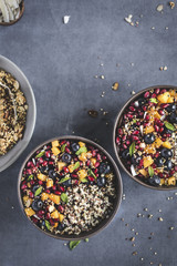 Coconut Quinoa Porridge with Berries and Quinoa Crunch Topping