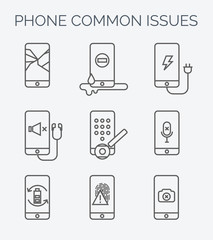 Common phone issues line icons.
