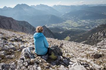 woman enjoying the view over the watzmann