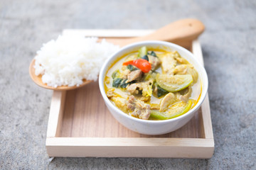Green curry with pork eating with rice