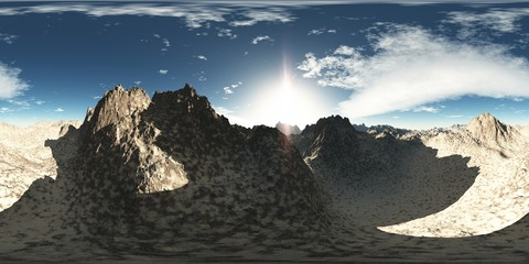 panorama of rocks in desert. made with the one vr 360 degree len