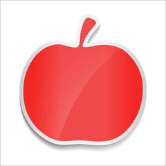Red apple. Sticker on white background.