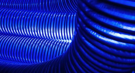 Blue plastic elastic pipe
