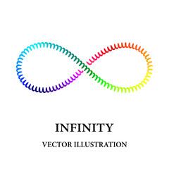 Rainbow spiral like infinity symbol consisted of simple elements