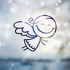 cute hand drawn christmas angel on blurred background, vector illustration for christmas greeting card