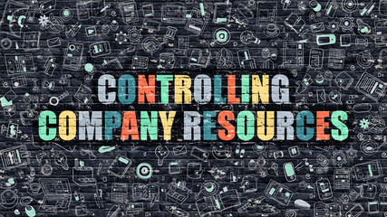 Multicolor Controlling Company Resources on Dark Brickwall.