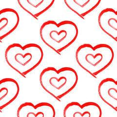 seamless pattern with hand painted watercolor hearts.