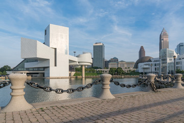 Cleveland Ohio Skyline from Harbor Walkway