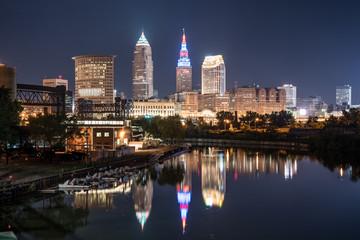 Cleveland Ohio Night Skyline