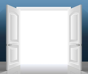 Open classic white double door. Vector graphics