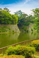 Nagoya Castle Rampart Walls Across Moat Overcast