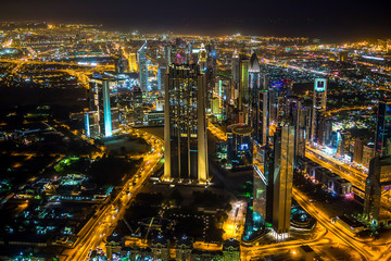 Night city lights top view