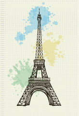 Eiffel Tower handwritten with color