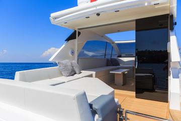 luxury motor boat view, rio yachts italian shipyard