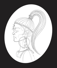 outline of a woman's face