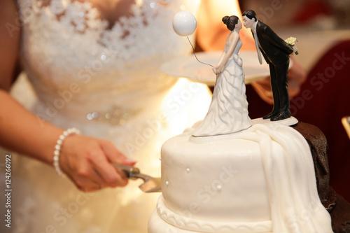 Hochzeitstorte Anschneiden Hochzeit Braut Brautigam Stock Photo