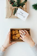 Woman packing Christmas cake