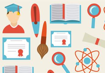 Full Color School, Education, and Graduation Icon Set