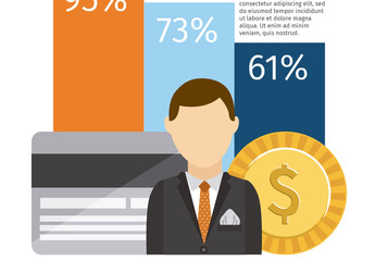 3-Bar Graph Business and Finance Infographic with Businessperson Icon 1