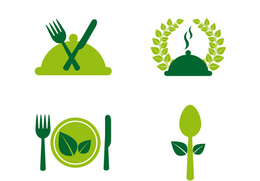 16 Organic Food and Cooking Icons in Bright Green