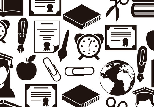 Black and White School, Education, and Graduation Icon Set