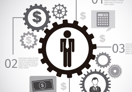 Business and Finance Infographic with Gear Element and Currency Icons
