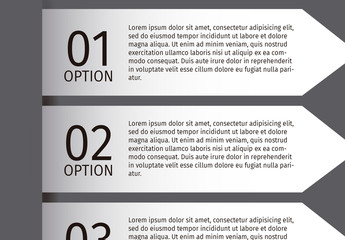 3 Arrow Tab Grayscale Infographic