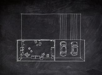 Chalk freehand sketch drawing of garage with cellar on blackboard