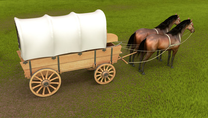Horse carriage drawn by two horses. 3d image.