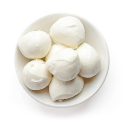 Bowl of mozzarella balls from above