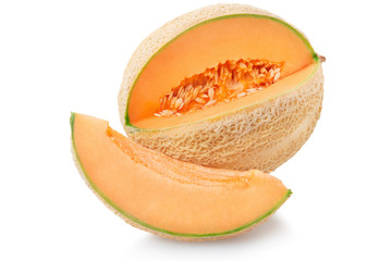 Cantaloupe melon with slice isolated on white, clipping path