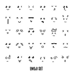 Face expression set of 30 emoji doddle emotions for creation characters. Emotions for design characters. Anime. Emotions handmade