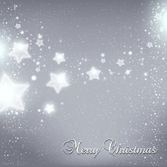 Christmas And New Year stars for celebration on grey background with light dots, snowflakes. Vector eps illustration. Xmas card