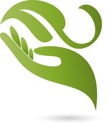 Hand, Blatt, Heilpraktiker, Logo