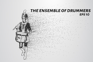 Drummer of the particles. The drummer in a school orchestra. The drummer breaks down into smaller molecules. Vector illustration